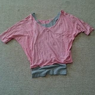 ムジルシリョウヒン(MUJI (無印良品))の無印 ピンク ドルマンTシャツ(Tシャツ(半袖/袖なし))