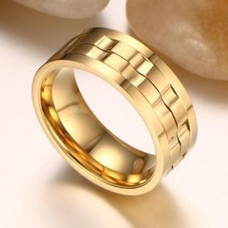 大人気 ステンレス スピナーリング ゴールド 金色 18号(リング(指輪))