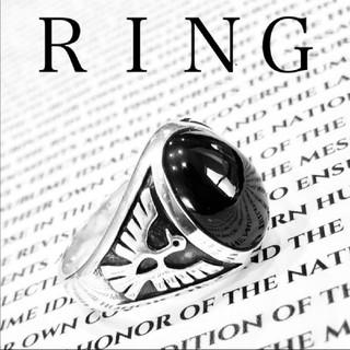 シルバー リング 指輪 925 オニキス メンズ 美品(リング(指輪))