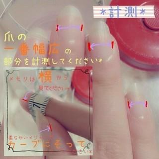 大きめビジューとリボンのガーリー ジェルネイルチップ ハンドメイドのアクセサリー(ネイルチップ)の商品写真
