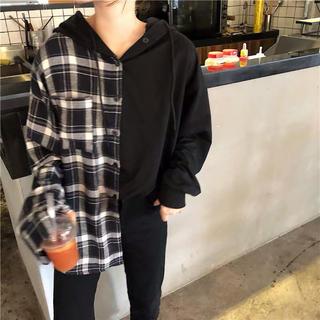 アンティカ(antiqua)の新品  チェックシャツ  パーカー フード(パーカー)