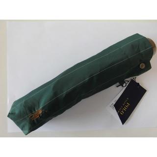 ポロラルフローレン(POLO RALPH LAUREN)の新品 ★ポロラルフローレン 紳士折り畳み雨傘 緑ストライブ白60(傘)