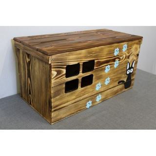 【受注生産 C06】りんご箱ネコハウス 猫のお家 木製キャットハウス