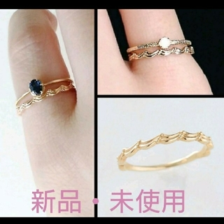 エテ(ete)のK10 繊細ウェーブ ゴールドピンキーリング(リング(指輪))