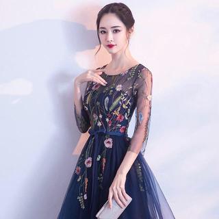 リリーブラウン(Lily Brown)のワンピース ♡結婚式♡ お呼ばれドレス  紺 ネイビー(ミディアムドレス)