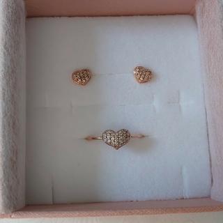 K10PG ダイヤモンド ピアス&リング(リング(指輪))