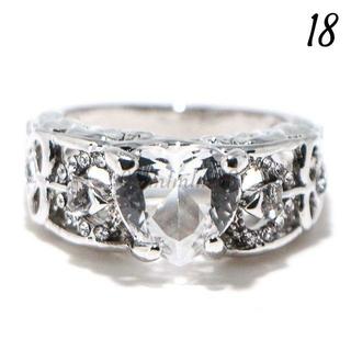 W14 リング 18号 人工石 ホワイトサファイア ハート 大きいサイズ(リング(指輪))