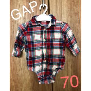ベビーギャップ(babyGAP)のbaby GAP チェックロンパース70(ロンパース)