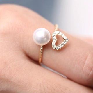 キラキラかわいい♡パール&ハート リング(リング(指輪))