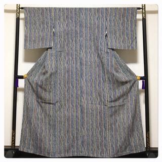 美品 未使用 極上 高級呉服 小紋 正絹 縞 身丈160 裄63.5 中古品 (着物)