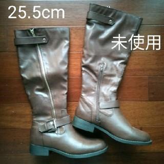 フォーエバートゥエンティーワン(FOREVER 21)の【未使用】 ブーツ ロングブーツ ブラウン フェイクレザー 25.5(ブーツ)