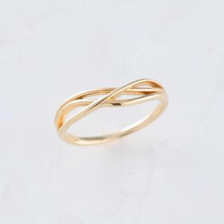 K10 3本ラインウェーブ ゴールドピンキーリング(リング(指輪))