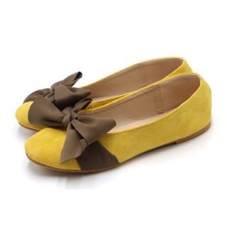 パンプス レディースシューズ ローヒール フラット リボン スエード調 靴  (ハイヒール/パンプス)