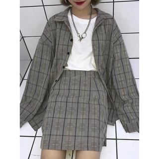 スピンズ(SPINNS)のチェックシャツ スカート セットアップ(セット/コーデ)