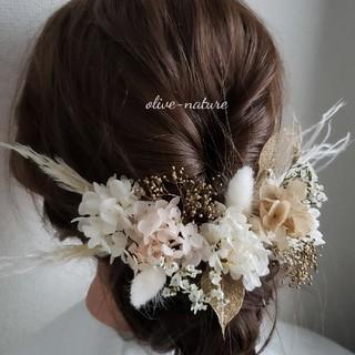 ヘッドドレス ~パンパスグラスのホワイトゴールドstyle~ 髪飾り(ドライフラワー)