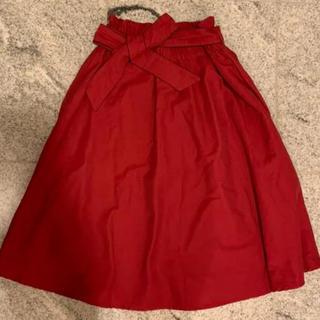 クチュールブローチ(Couture Brooch)のクチュールブローチ  フレアスカート ミディ丈 レッド 新品未使用(ロングスカート)