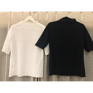 ジーユー(GU)のハイネック レースブラウス ホワイトブラックセット(シャツ/ブラウス(半袖/袖なし))