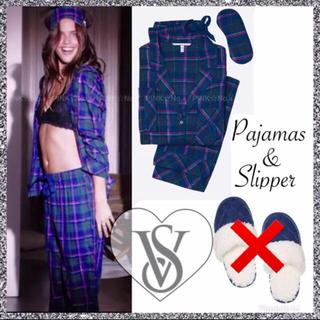 ヴィクトリアズシークレット(Victoria's Secret)の新品♡VS♡パジャマ&アイマスク&おまけスリッパ♡ブルー系(パジャマ)