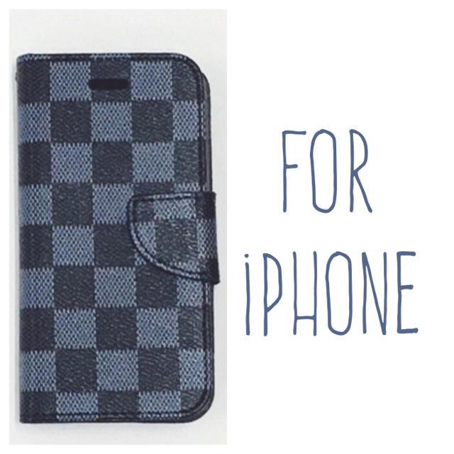 送料無料 青×黒 iPhoneケース iPhone8 7 plus6s 手帳型の通販