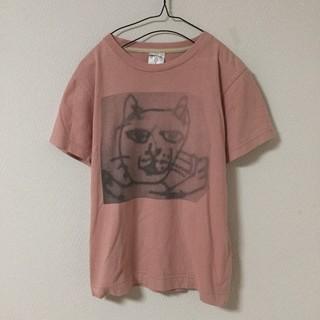 キューン(CUNE)のCUNE キューン Tシャツ 猫 キャット CAT 絵 プリント ピンク(Tシャツ/カットソー(半袖/袖なし))