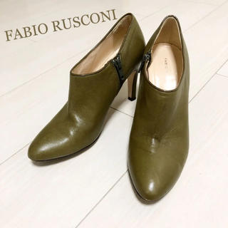 ファビオルスコーニ(FABIO RUSCONI)の超美品!定価34000円 ファビオルスコーニ 23.0 本革 イタリア製 ブーツ(ブーティ)