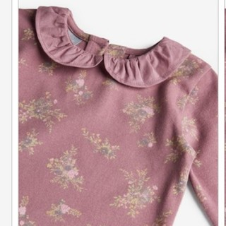 ネクスト(NEXT)のトップス 襟付き シャツ カットソー フリル ブラウス 花柄 パープル(シャツ/カットソー)