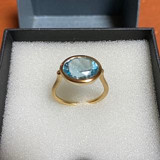 k18  スイスブルー トパーズリング 15号 新品(リング(指輪))