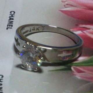 15号 14KTキュービックダイアモンドホワイトリング(リング(指輪))