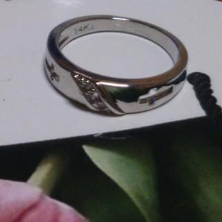14号 14KTキュービックダイアモンドホワイトクロスリング(リング(指輪))