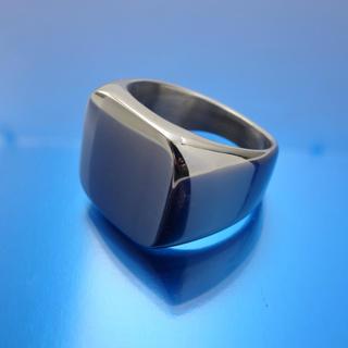 印台リング 指輪 メンズ スクエア ステンレス シルバー 鏡面 艶あり 16号(リング(指輪))