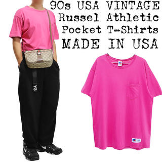 希少★90s USA VINTAGE★ビッグ ポケットTシャツ★ピンク★USA製(Tシャツ/カットソー(半袖/袖なし))