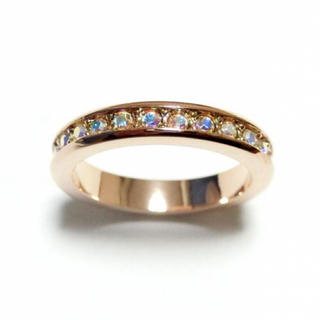 21号 スワロフスキー フルエタニティ オーロラクリア ピンクゴールドリング(リング(指輪))