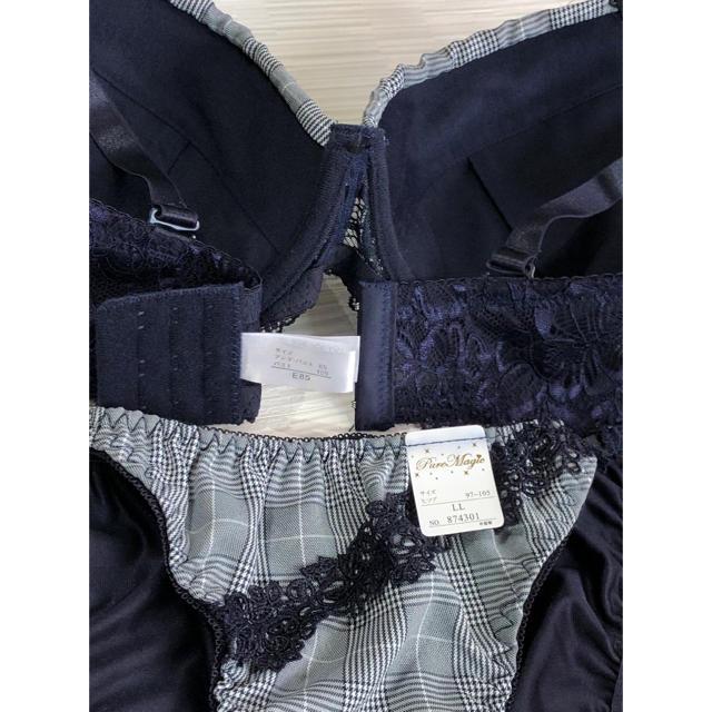 ブラジャー&ショーツ♡E85  ☆ネイビーチェック柄にレースがとっても可愛い♡ レディースの下着/アンダーウェア(ブラ&ショーツセット)の商品写真