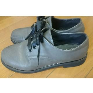 グレー シューズ 24cm(ローファー/革靴)