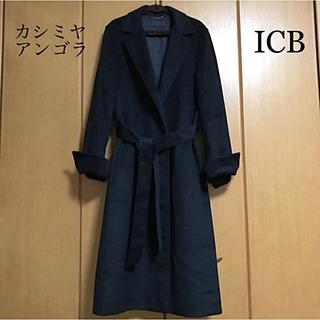アイシービー(ICB)の美品 ICB チェスターコート 黒 17 アンゴラ カシミヤ 大きいサイズ(チェスターコート)