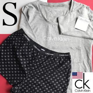 カルバンクライン(Calvin Klein)のレア Calvin Klein USA ロングロゴTシャツ ショートパンツ S(ルームウェア)