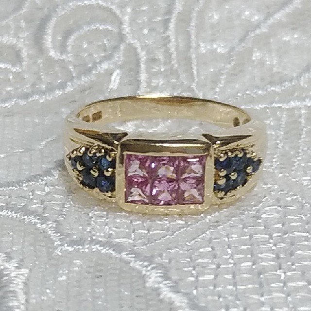10K ピンク&ブルーサファイアリング レディースのアクセサリー(リング(指輪))の商品写真