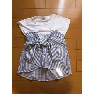チャオパニックティピー(CIAOPANIC TYPY)のチャオパニック  TYPY ストライプシャツ ドッキングTシャツ リボン(Tシャツ(半袖/袖なし))