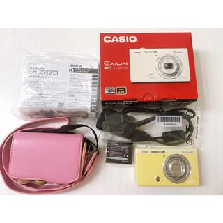 カシオ(CASIO)の美品!カシオ EXILIM ZR70 デジカメ パステルイエロー ケースセット(コンパクトデジタルカメラ)