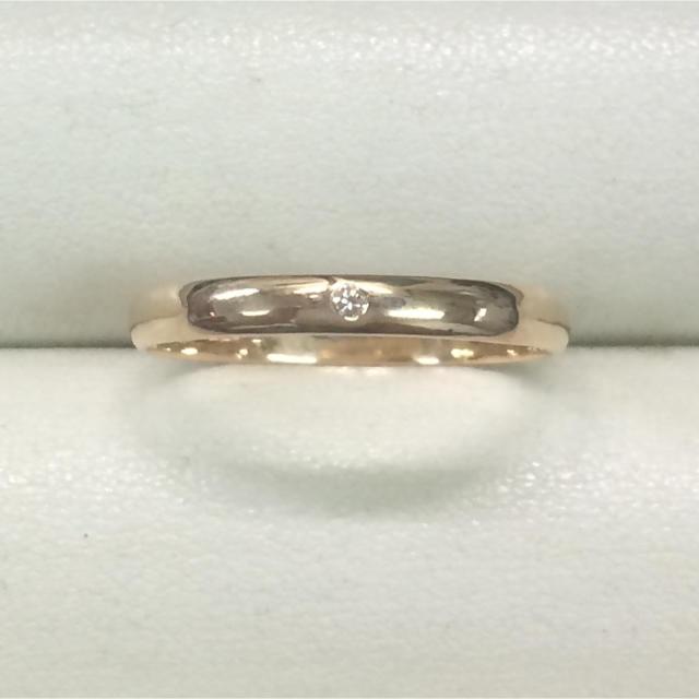 ★大きめの18号★K18ダイヤモンドリング・甲丸タイプ★0.01ct レディースのアクセサリー(リング(指輪))の商品写真