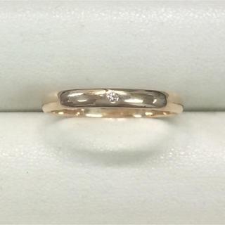 ★大きめの18号★K18ダイヤモンドリング・甲丸タイプ★0.01ct(リング(指輪))