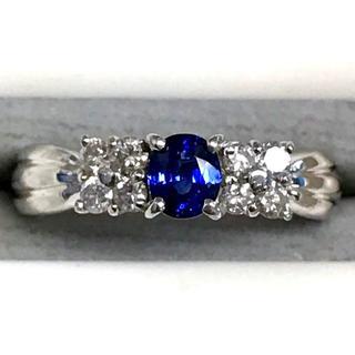 美品 Pt900サファイア ダイヤモンド プラチナデザインリング 3.5g 8号(リング(指輪))