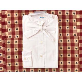 ノワール(NOIR)のノワール ブラウス ワイシャツ M 白シャツ リボン ノーカラー 制服(シャツ/ブラウス(長袖/七分))