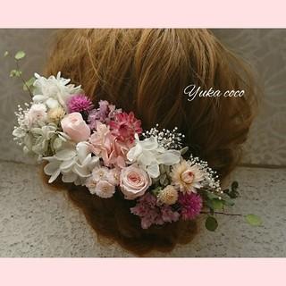フェミニンなドライフラワー ヘッドドレス❁¨̮pink 髪飾り(ヘッドドレス/ドレス)