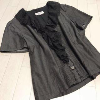 スキャパ(SCAPA)のSCAPA レース襟 デニム調ブラウス 40(シャツ/ブラウス(半袖/袖なし))