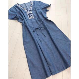 新品 COCOON 襟元刺繍 デニムチュニックワンピース(ミニワンピース)