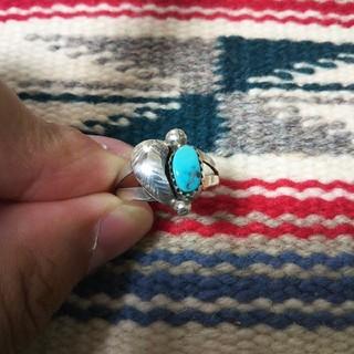 インディアン(Indian)のインディアンジュエリー ナバホ族 ターコイズ シルバーリング 指輪 14 15(リング(指輪))