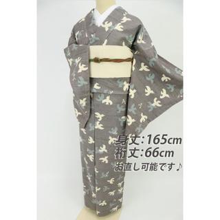 《上質品■生紬■かわいいつばめ柄小紋■グレー灰色◆袷正絹着物◆TH7-21》(着物)