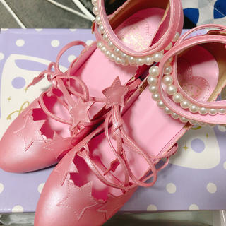 アンジェリックプリティー(Angelic Pretty)の値下新品 Angelic Pretty  星 ピンク 靴 Sサイズ(ハイヒール/パンプス)
