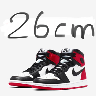 ナイキ(NIKE)のNIKE WMNS AIR JORDAN 1 SATIN BLACK TOE26(スニーカー)